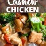 Instant Pot Cashew Chicken Pinterest Image top design banner