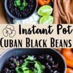 Instant Pot Cuban Black Bean Pinterest Image middle design banner