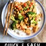Easy Cashew Chicken Recipe Pinterest Image bottom black banner