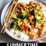 Summertime Cashew Chicken Pinterest Image bottom black banner