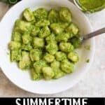 Summertime Easy Pesto Recipe Pinterest Image bottom black banner