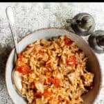 Summertime Tuna and Rice Pinterest Image top black banner