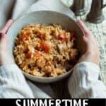 Summertime Tuna and Rice Pinterest Image bottom black banner