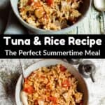 Summertime Tuna and Rice Pinterest Image middle black banner
