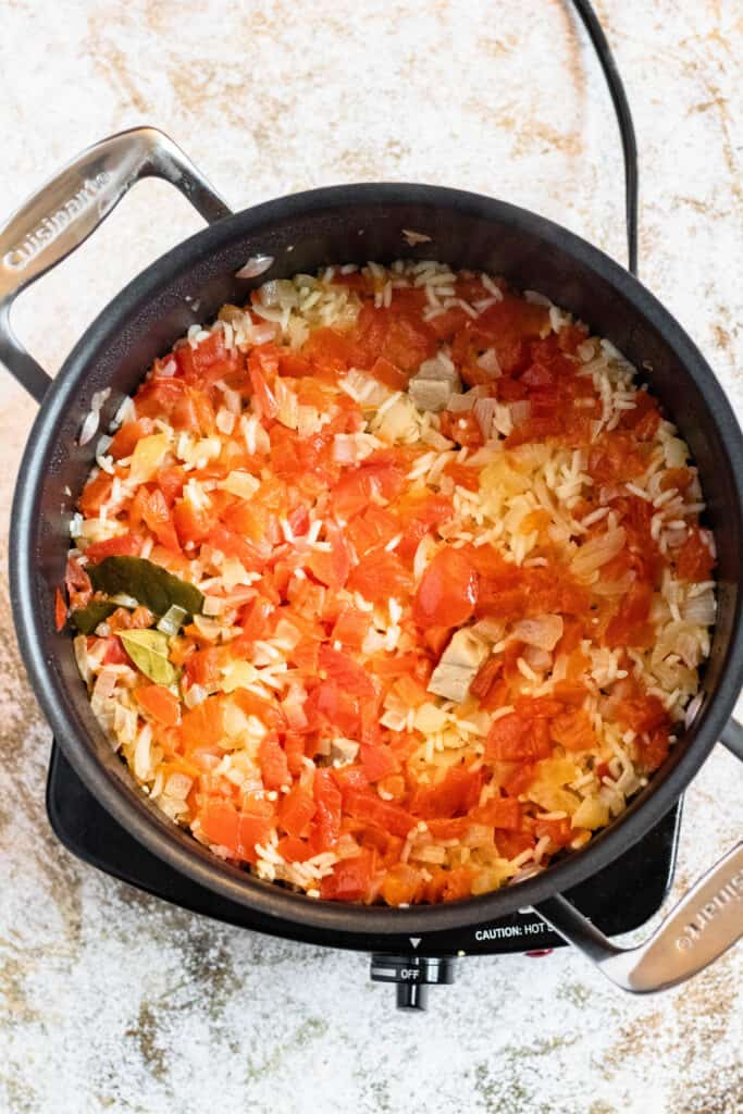 tuna and rice cooked in a large pot