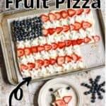 Summertime Fruit Pizza Dessert Pinterest Image top outlined title