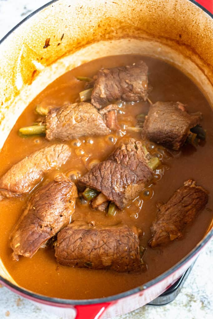 thickened gravy sauce with rolled beef
