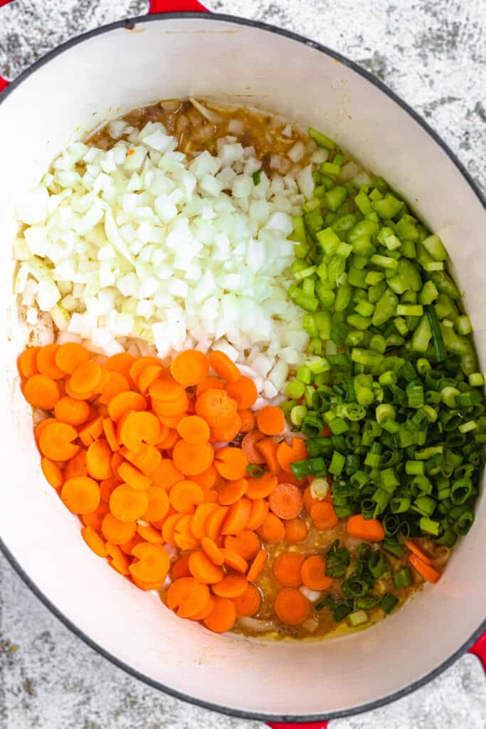 Chopped vegetables in the dutch oven