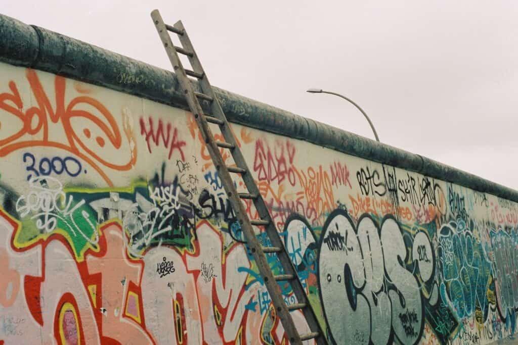 Berlin wall with graffiti