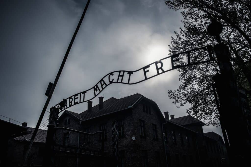 Work will set you free sign at concentration camp