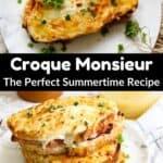 Summertime Croque Monsieur pinterest image middle black banner