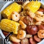 Instant Pot Shrimp Boil Pinterest Image top outlined title