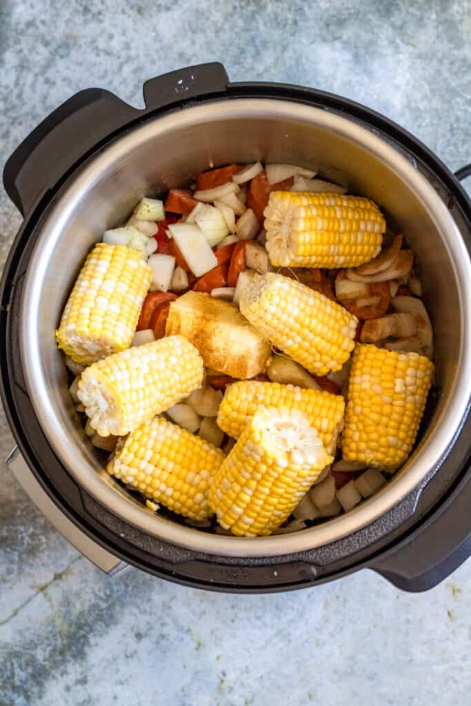 Veggies and butter in the pressure cooker