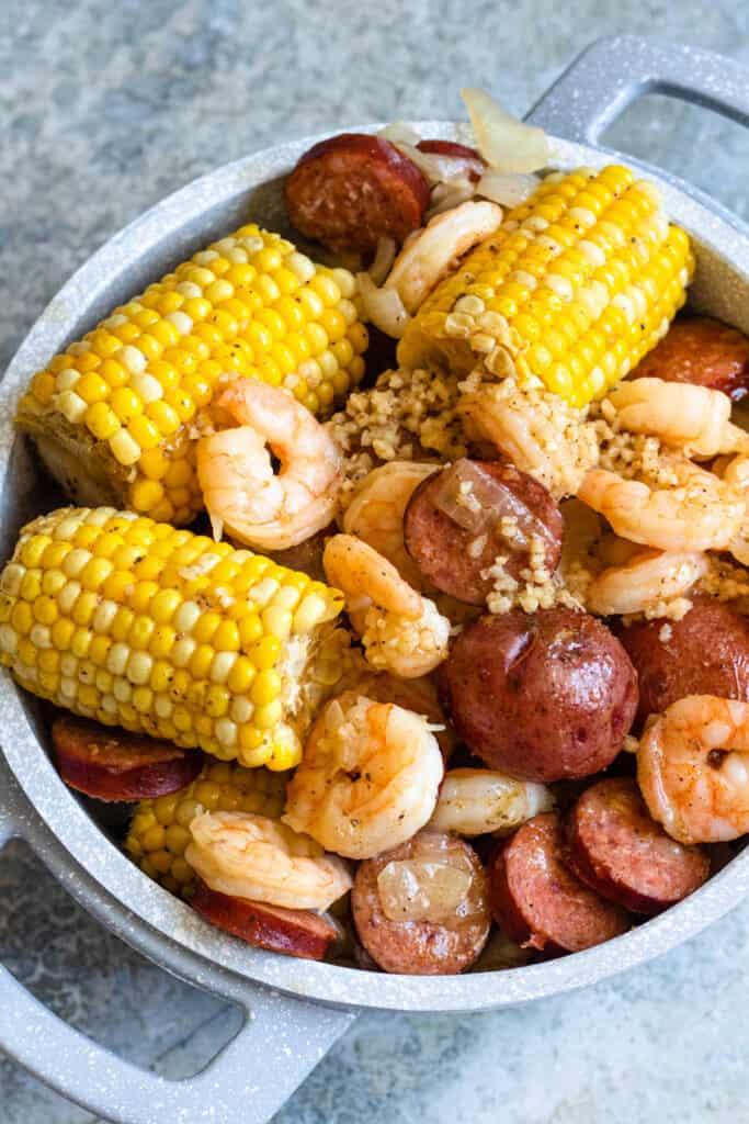 Big pot of cooked Instant Pot Shrimp Boil