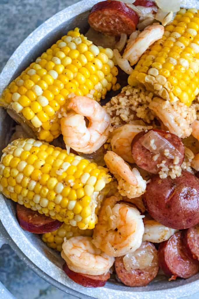 close up of shrimp boil photo