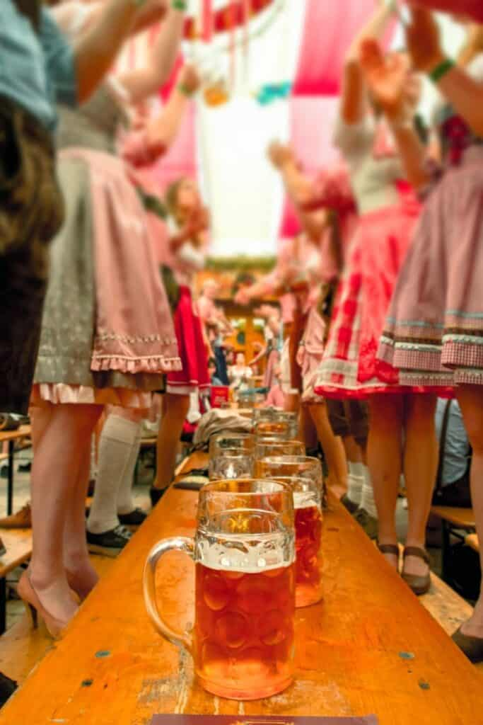 Table of beer at oktoberfest