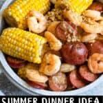Instant Pot Shrimp Boil Pinterest Image bottom black banner