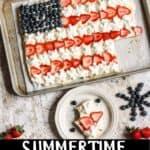 Summertime Fruit Pizza Dessert Pinterest Image bottom black banner