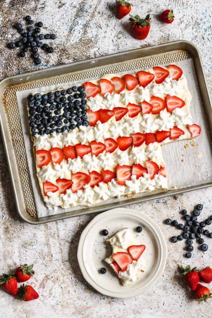 view of american flag cookie pie with a piece cut out