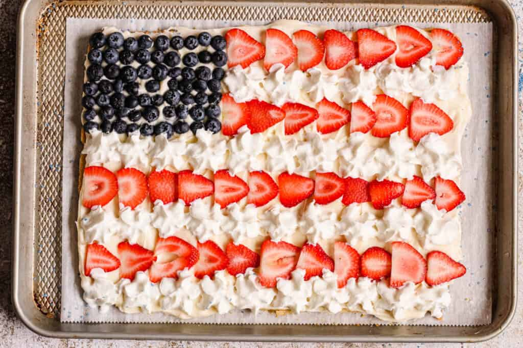 fourth of july cookie pie with whipped cream