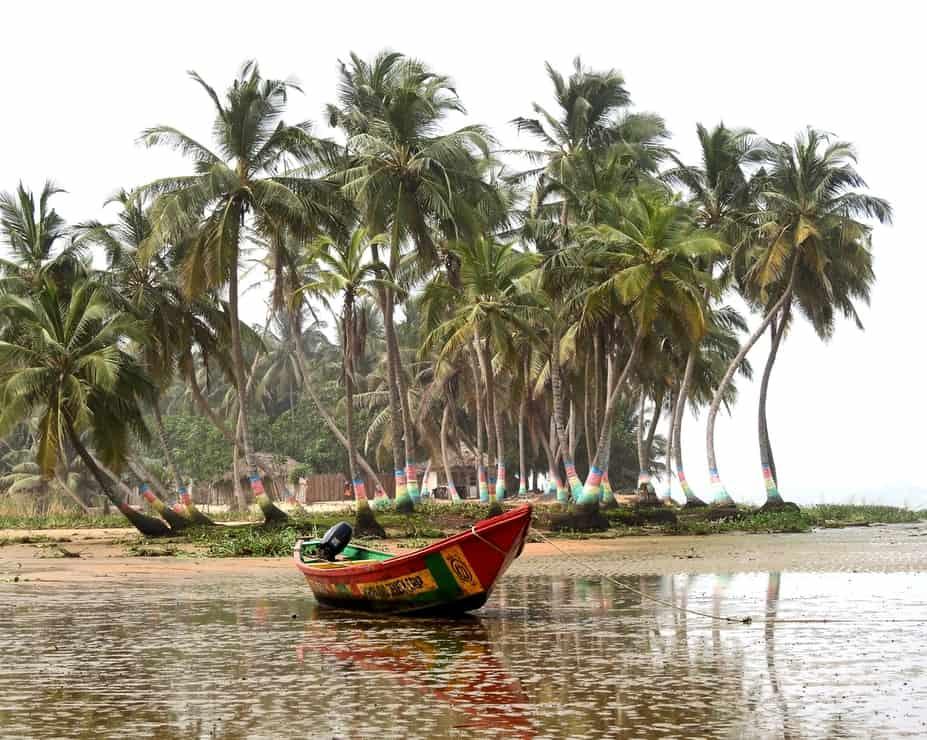 a boat in the water in Ghana