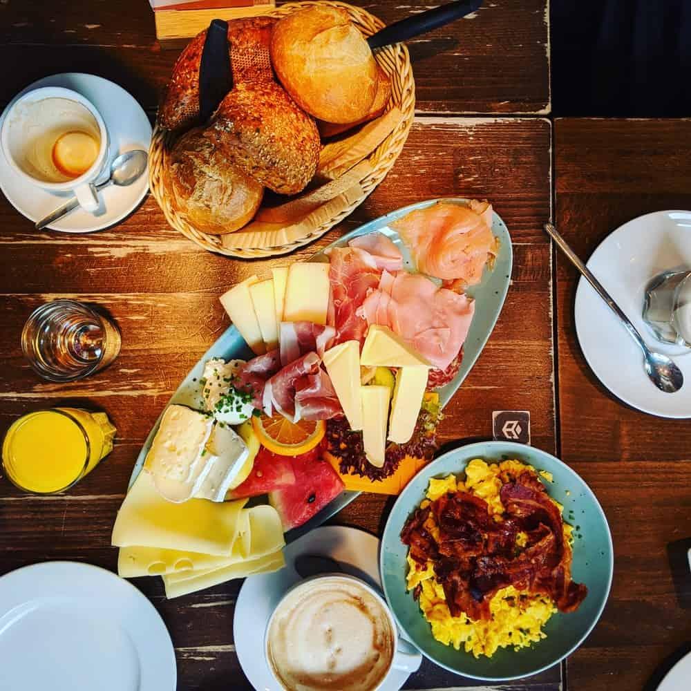 Typical german breakfast spread