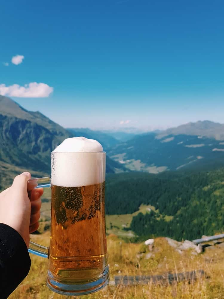 Beer in front of the alps