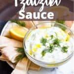 Tzatziki Sauce Pinterest Image top design banner