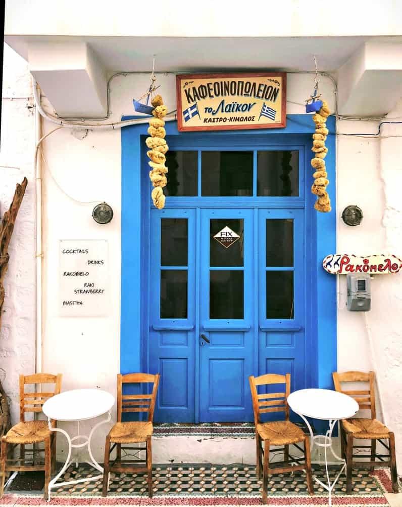 Blue door at greek restaurant