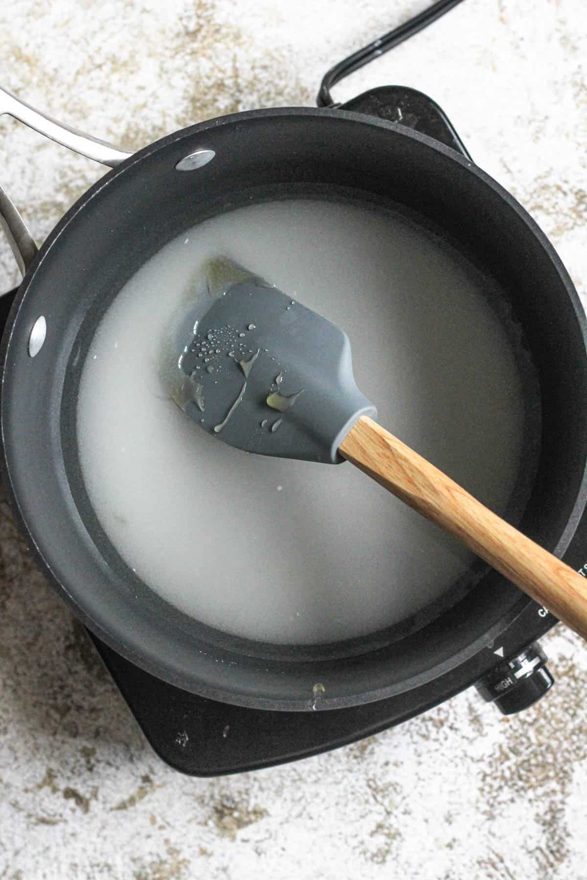 syrup cooking on the stove