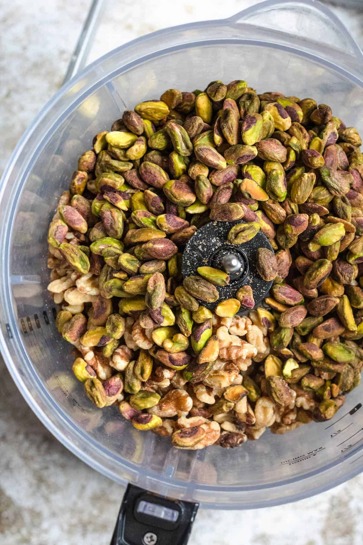 Food processor with pistachios and walnuts