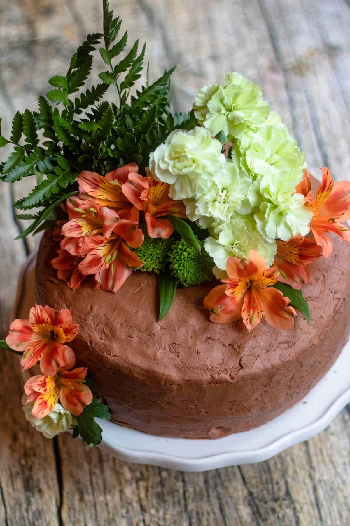 Top of cake decorated with flowers