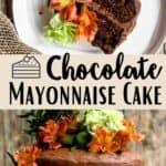Chocolate Mayonnaise Cake Pinterest Image middle design banner