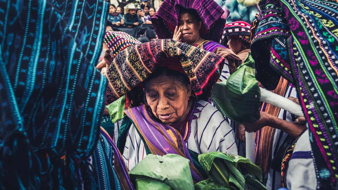Mayan woman in a colorful headress