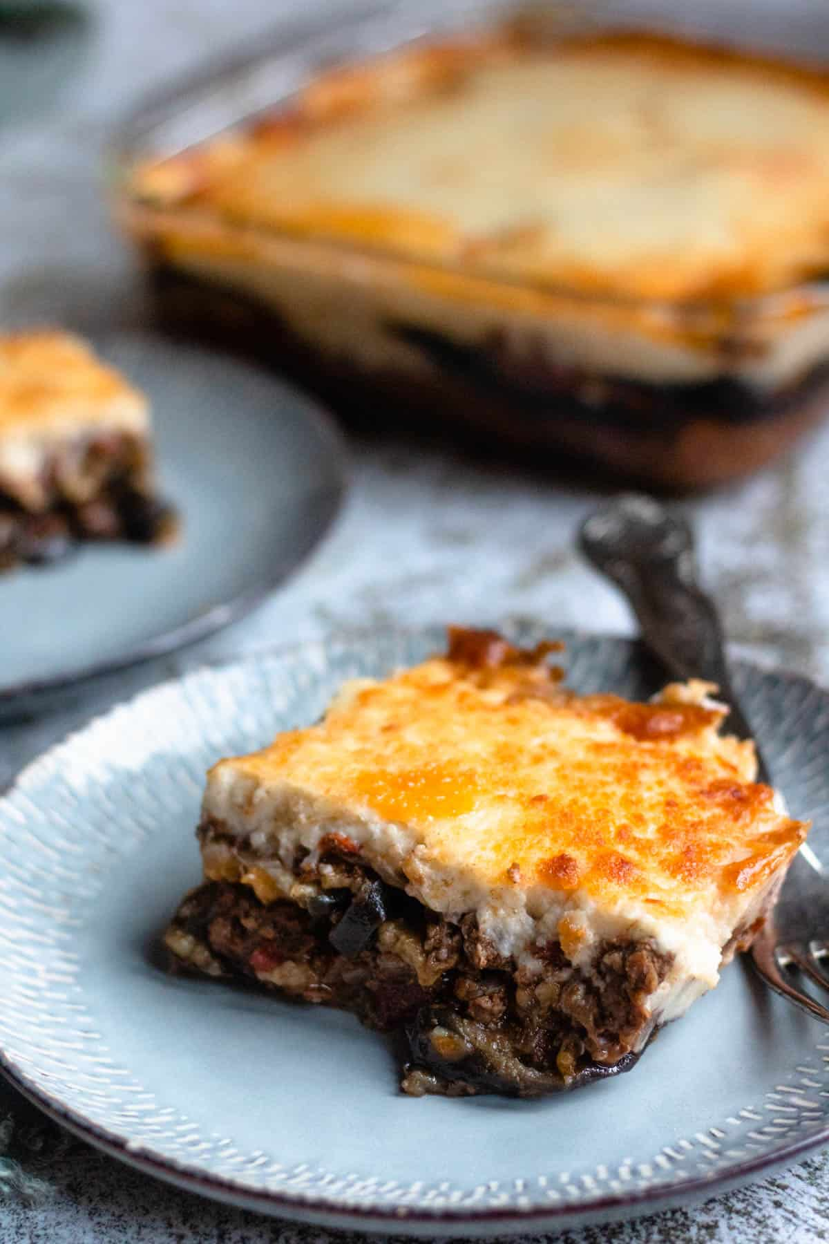 close up of moussaka on a plate