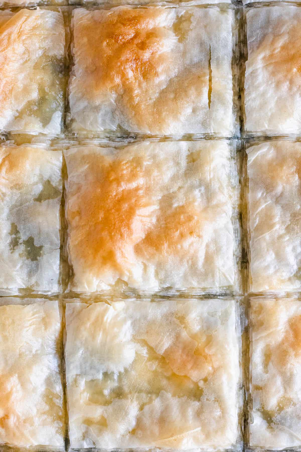 close up of squares of spinach pie