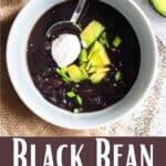 Instant Pot Black Bean Soup Pinterest Image bottom design banner