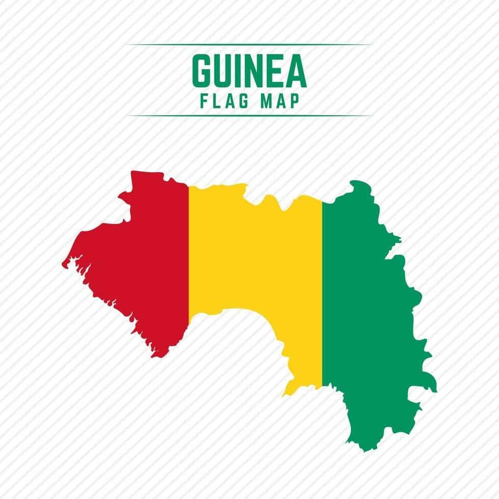Flag of Guinea in the shape of Guinea