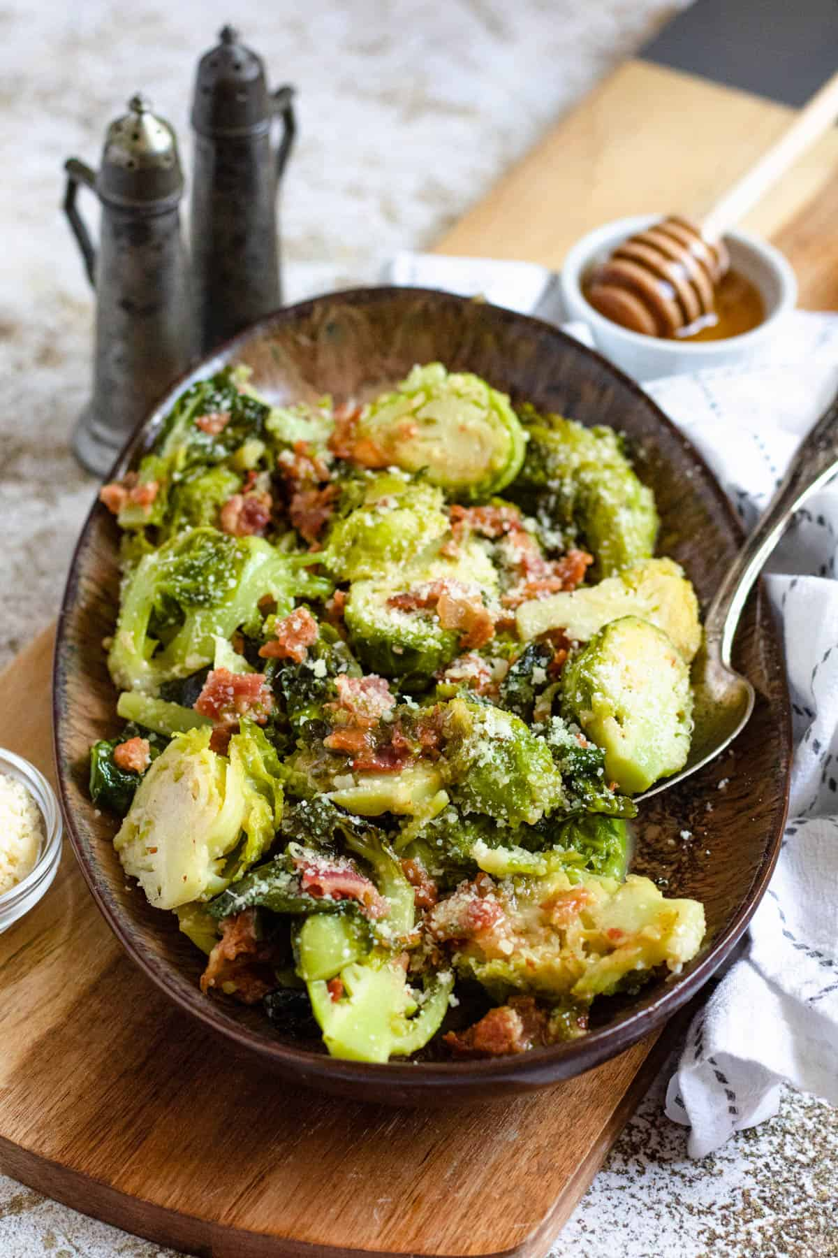 Brussels sprouts with bacon and parmesan cheese