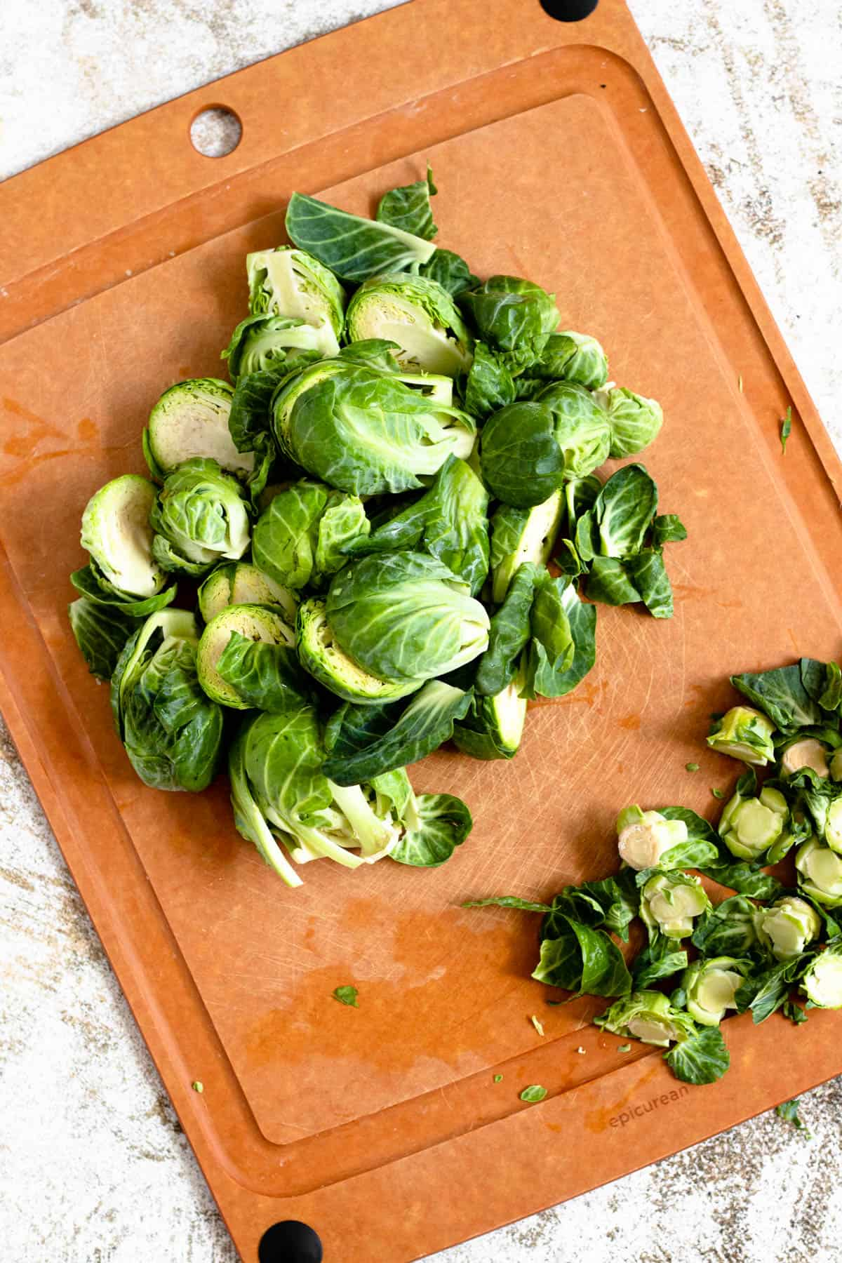 Cleaned brussels sprouts with stems trimmed