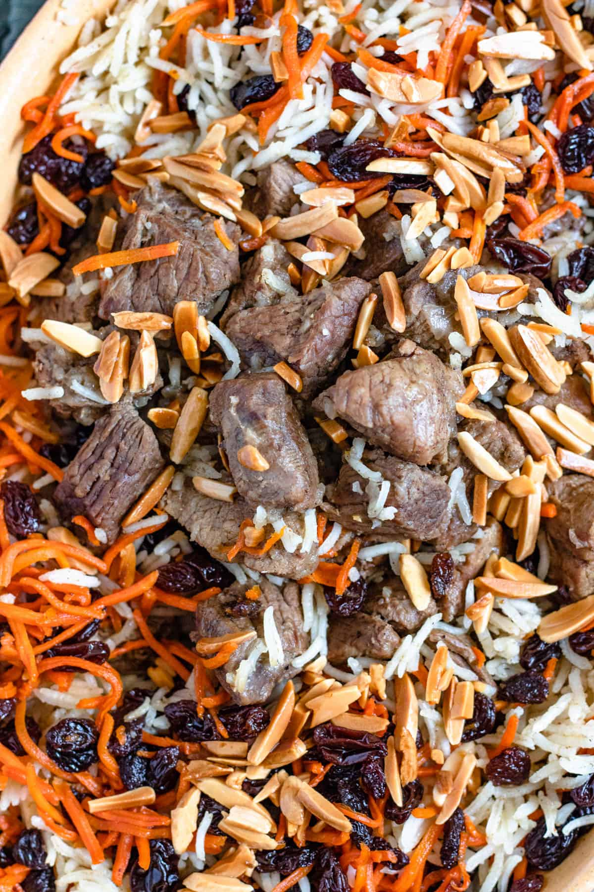 Close up of Kabuli Pulao with toasted almonds