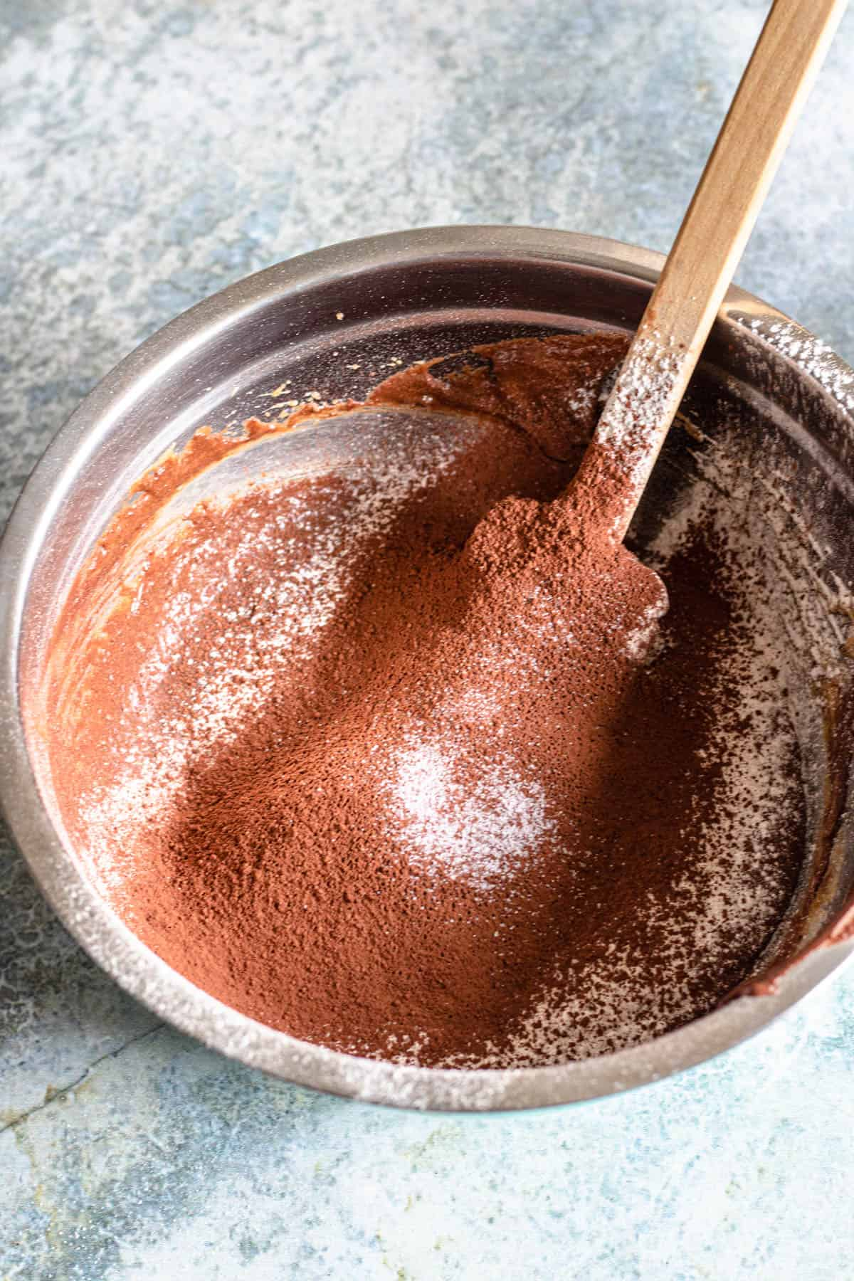 flour and cocoa powder sifted into the mixing bowl