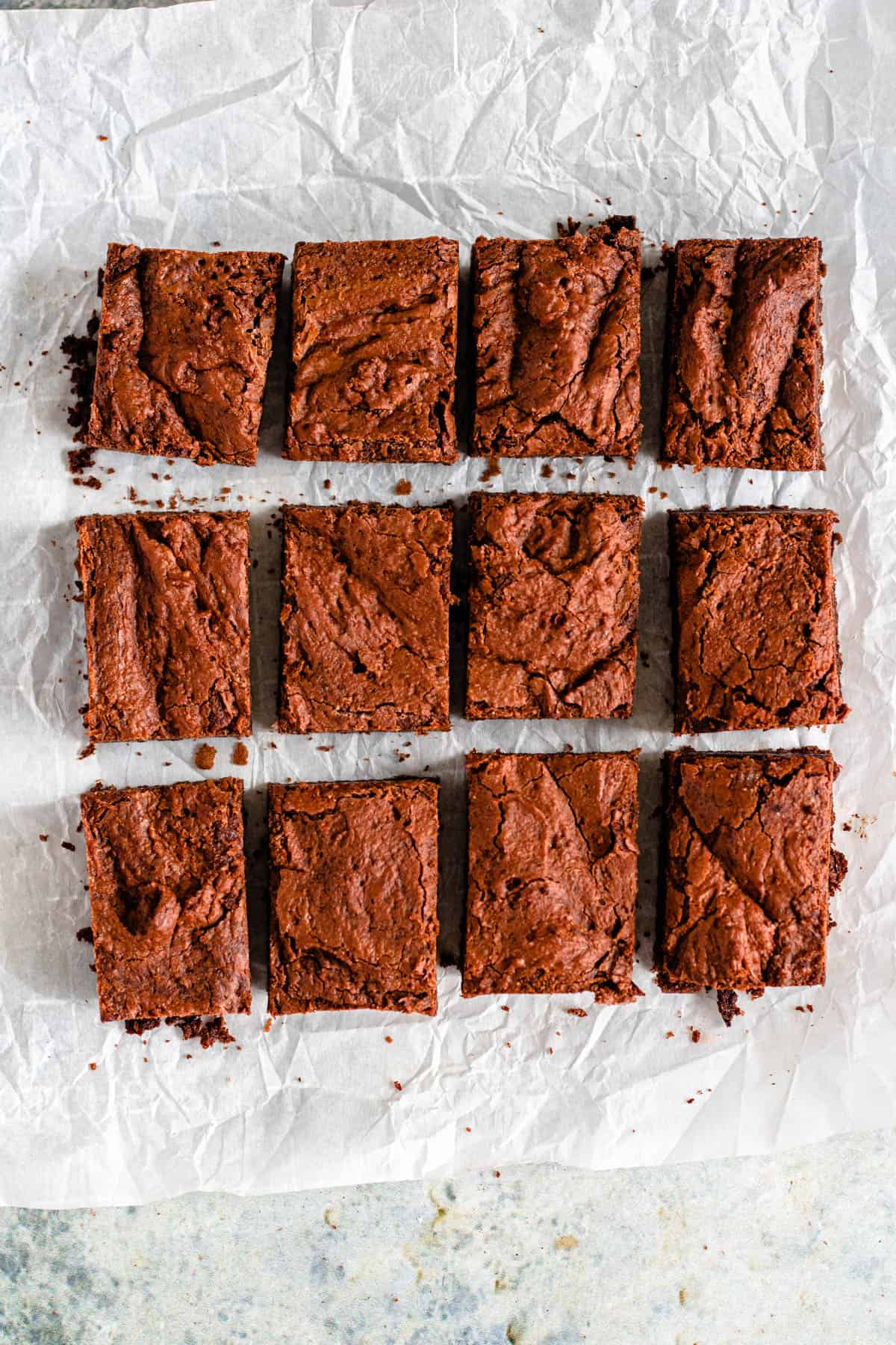 12 brownies cut into rectangles