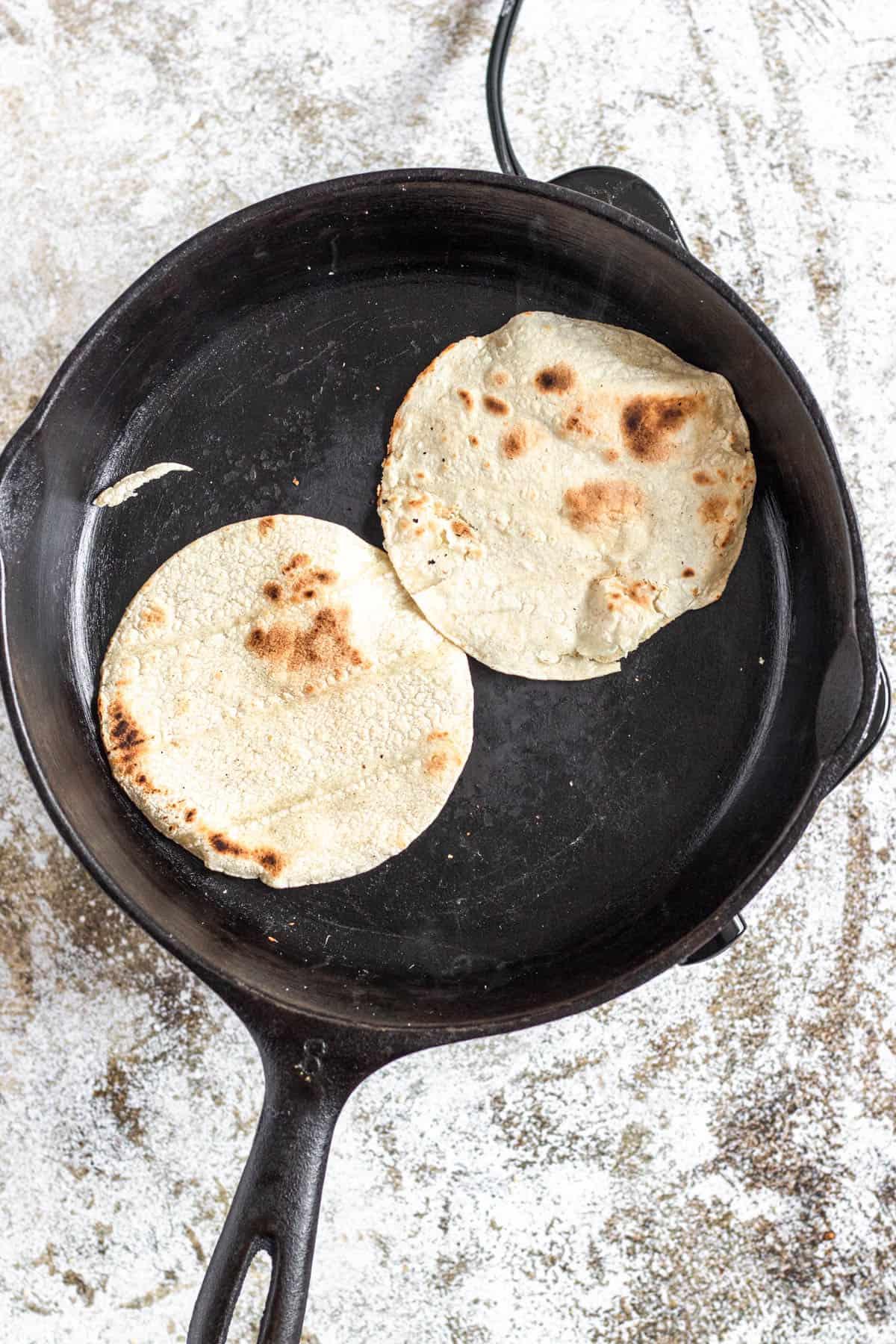Toasted corn tortillas