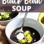 Instant Pot Black Bean Soup Pinterest Image top design banner